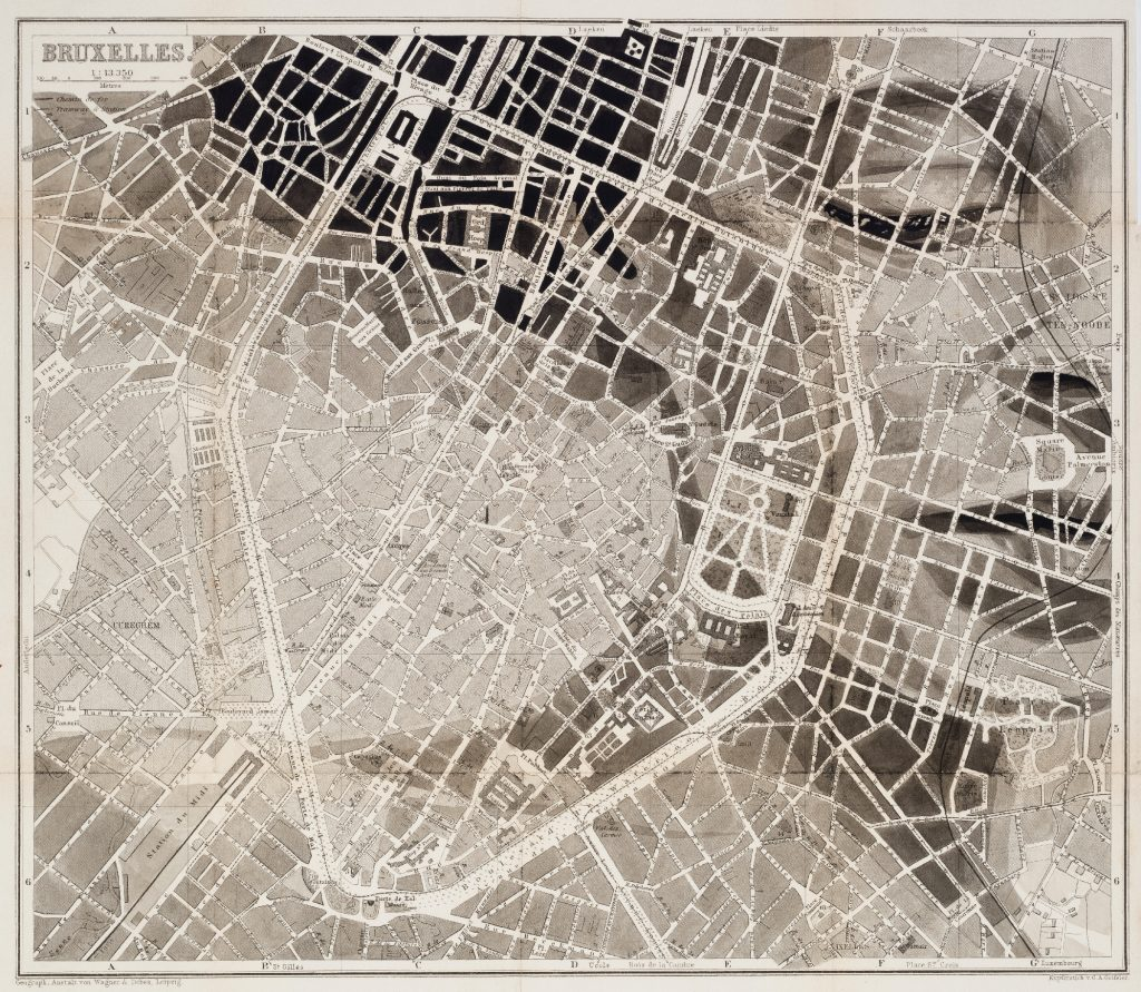 original painted in matte india ink over an 1885 wagner debes street map of brussels belgium 12 x 10 approx